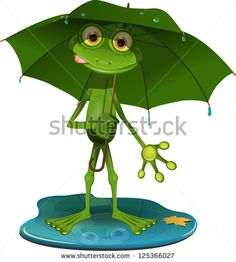 illustration green frog with a green umbrella