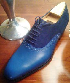 J.M Weston Blue Suede Shoes  www.theshoesnobblog.com