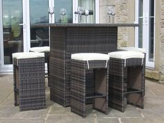 Garden Furniture Deals rattan outdoor garden furniture 6 seat bar set in brown - modern