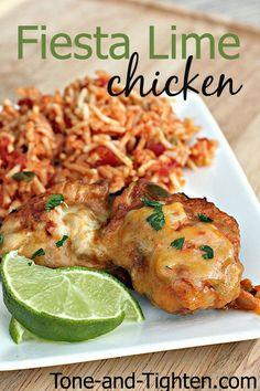 A healthier copycat recipe of Applebee's Fiesta Lime Chicken on Tone-and-Tighten.com