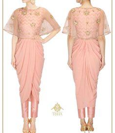 Tisha # draped dress # cape fusion wear# Indian fashion