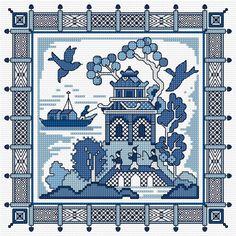 Cross stitch Willow pattern