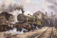 """Demise of Steam"" by Peter Annable Steam Art, Steam Railway, Train Art, British Rail, Old Trains, Cartoon Art Styles, Le Far West, Paintings I Love, Steam Locomotive"