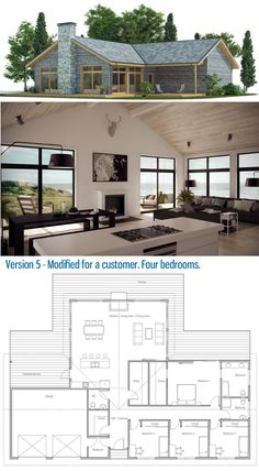 Exterior Design House Bungalows Floor Plans Ideas For 2019 House Layout Plans, Barn House Plans, New House Plans, Dream House Plans, Modern House Plans, Small House Plans, House Layouts, Bungalow Floor Plans, House Floor Plans