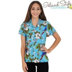 Ladies / Womens Hawaiian Shirt Turquoise Magnum Parrot Party Fancy Dress, Cruise, Uniforms.
