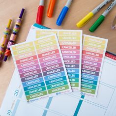 24 Cancelled Stickers - Pastel Colors by FasyShop on Etsy