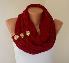 Red knit metallic button infinity scarf circle scarf winter scarfs neck warmer cowl birthday gifts women's accessory fashion scarves