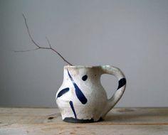 Vintage Raku Mug, Rustic Raku Mug, Vase, Organizer, Handmade Pottery