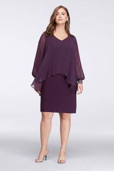 Short Chiffon Plus Size Mother of Bride/Groom Dress with Beaded Capelet - Plum (Purple), 14W