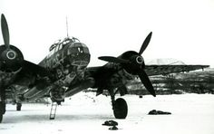 Ju-88 bomber equipped with torpedoes at rest at an airfield in Norway, 1945