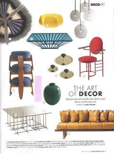 Elle Decoration April 2016 Gallotti & Radice Tetris coffee table and Bolle hanging lights