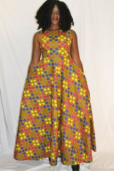 African long dress in wax. this dress is flared and with pockets. African Maxi Dresses, African Dresses For Women, African Outfits, Lace Dress Styles, African Design, African Style, Summer Dresses, Max Dresses, Delivery