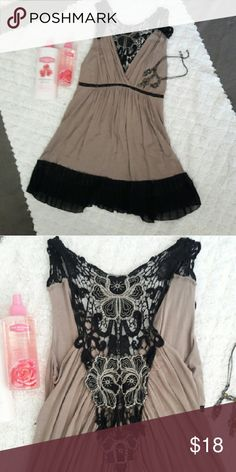 Flowy Lace Blouse Tan and black lace blouse. Perfect with leggings. NWOT Tops Blouses
