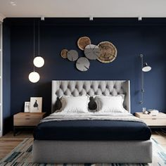 33 Epic Navy Blue Bedroom Design Ideas to Inspire You Navy blue is a highly sophisticated color that would fit a bedroom? Cast a glance over our navy blue bedroom ideas and convince yourself of its epicness! Navy Blue Bedrooms, Gray Bedroom, Home Decor Bedroom, Bedroom Furniture, Modern Bedroom, Bedroom Ideas, Master Bedroom, Bedroom Designs, Contemporary Bedroom