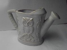 Small stoneware Owl watering can, stoneware owl by tjmccarty on Etsy