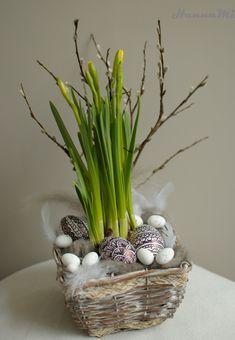 Egg Art, Wicker Baskets, Spring, Floral Arrangements, Diy And Crafts, Dinner, Plants, Home Decor, Flowers