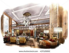 Find Sketch Perspective Interior Design Sketch Painting stock images in HD and millions of other royalty-free stock photos, illustrations and vectors in the Shutterstock collection. Thousands of new, high-quality pictures added every day. Interior Design Renderings, Drawing Interior, Interior Rendering, Interior Sketch, Interior Design Living Room, Interior Architecture, Living Room Designs, Interior Decorating, Dream House Interior