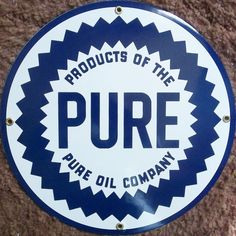 Fired Porcelain PURE Oil Company Sign Advertising Die Cut PURE Oil Company Sign #PUREOILCOMPANY