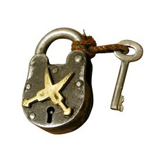 Perhaps this iron lock and key traveled the world on a majestic ship or was used to keep treasures safe. A haunting charm will take over when placed on a bookshelf or display case. What ever its story, this find is a statement piece on its own.