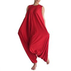 Items similar to PLAMA Beach Maxi Boho Wide Leg Jumpsuit red yoga lounge drop-crotch oversized plus size baggy maternity overall summer party handmade on Etsy Yoga Dress, Yoga Pants Outfit, Harem Pants, How To Make Shoes, How To Wear, Red Jumpsuit, Drop Crotch, Yoga Fashion, Boho