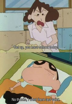 Shin chan discovered by Rania on We Heart It Funny Shit, Very Funny Memes, Funny School Memes, Cute Funny Quotes, Some Funny Jokes, Hilarious, Funniest Memes, Funny Facts, Crayon Shin Chan