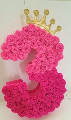 Number Four piñata Hot pink piñata Hot Pink party number Birthday Pinata, Diy Birthday, Birthday Party Themes, Princess Pinata, Princess Birthday, Princesse Party, Girl Birthday Decorations, Paper Flower Decor, Barbie Party