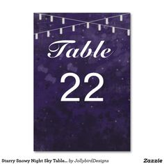 Starry Snowy Night Sky Table Number Card Table Cards design with theme Table Cards, Abstract Watercolor, Table Numbers, Night Skies, Wedding Invitations, Finding Yourself, Sky, Design, Heaven