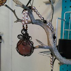 Handmade by pleyden, wire wrapped stone w pearls Handmade by pleyden, wire wrapped stone w pink freshwater pearls. Exquisite and one of a kind Made by pleyden Jewelry Necklaces