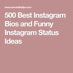 500 Best Instagram Bios and Funny Instagram Status Ideas