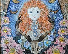 Spiritual art Goddess Mermaid Fairy Cat Impressionist by ArtRushka Spiritual Paintings, Mermaid Fairy, Moon Goddess, Illustrators, Watercolor Paintings, Cat Lovers, Witch, Aurora Sleeping Beauty, Art Prints