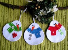 Felt ornament christmas tree ornament snowman white by feltgofen