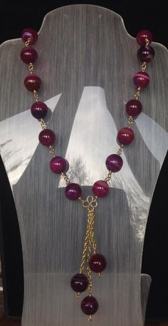 Fuschia Moons - gemstone necklace