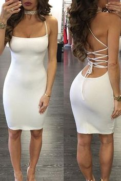 Ivory Sheath Short Prom Dress, Bodycon Sexy Halter Bandage Bodycon Dress, Shop plus-sized prom dresses for curvy figures and plus-size party dresses. Ball gowns for prom in plus sizes and short plus-sized prom dresses for Tight Dresses, Sexy Dresses, Cute Dresses, Short Dresses, Fashion Dresses, Hijab Fashion, Mini Prom Dresses, Cheap Party Dresses, Dress Party