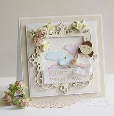 Stencils, Christening, Scrapbooking, Diy Crafts, Paper, Beautiful, Card Ideas, Children, Cards