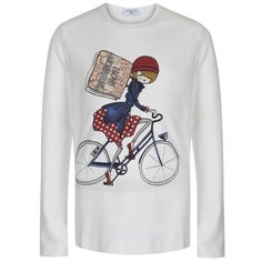 Monnalisa Girls White Long Sleeved T-Shirt with Bicycle Print