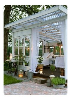 The pergola kits are the easiest and quickest way to build a garden pergola. There are lots of do it yourself pergola kits available to you so that anyone could easily put them together to construct a new structure at their backyard. Outdoor Rooms, Outdoor Gardens, Outdoor Living, Outdoor Decor, Outdoor Bedroom, Garden Bedroom, Dream Bedroom, Indoor Outdoor, Summer Bedroom