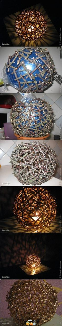 ballons de baudruche recouvert de bois, luminaire
