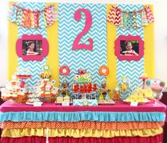 Custom Birthday Party Backdrop Sweets Candy table Design Package Linens Decorations decor and more. $150.00, via Etsy.