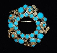 Vintage Eugene Pin Brooch Miriam Haskell Fabulous 1960's Turquoise Flowers | eBay
