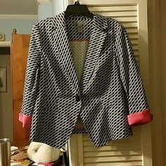 Black and white blazer with hot pink details Black and white patterned blazer with hot pink detail. Single button closure front. 97% cotton and 3% spandex. 25 inches long. 20 inches from armpit to armpit. 16 and a half inches across shoulders Sharon young  Jackets & Coats Blazers