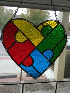 Autism Puzzle Piece Heart shaped by CarolinaStainedGlass on Etsy
