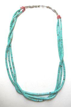 Old Handmade NAVAJO INDIAN 3 Strand Turquoise Heishi.