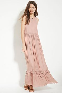 Forever 21 Contemporary - Crafted from woven fabric, this sleeveless maxi dress features a ruffled hem, a shirred waistline, and a concealed back zipper.