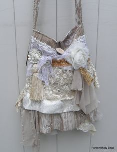 Gypsy Bag large Shabby Chic bag soft thick by PursenicketyBags, $130.00