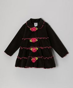 Take a look at this Black & Pink Tiered Rose Jacket - Infant, Toddler & Girls by Mulberribush on #zulily today!