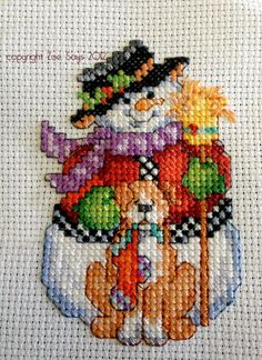 A cross-stitch pattern I just finished that I will gift to someone (it'll be an ornament).