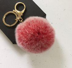 New Frosted red Fur pom pom keychain fur ball bag by YogaStudio55