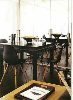 Set of 2 Eiffel Black Side Chair Wood Dowel Base New | eBay