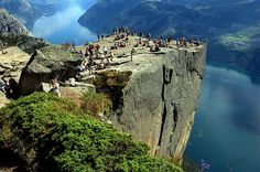 "PREIKESTOLEN, NORWAY - ""Absolutely breathtaking. You stand on a rock, almost 600m tall overlooking a fjord, with nothing between you and the edge. One of the most amazing places I have ever seen."" - Lucy"