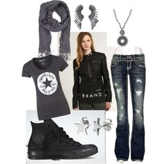 Black leather, denim and converse